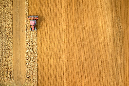Aerial View Of Tractor On Field - gettyimageskorea