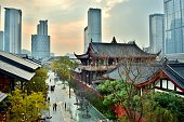 Aerial View of Traditional Chinese Temples in Chengdu's Modern Financial Center (Downtown) - Chengdu, China