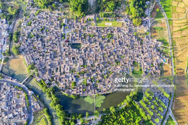 aerial view of traditional chinese village, hongcun, anhui province - anhui province stock pictures, royalty-free photos & images