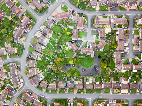 Aerial view of traditional housing estate in England. 931497790