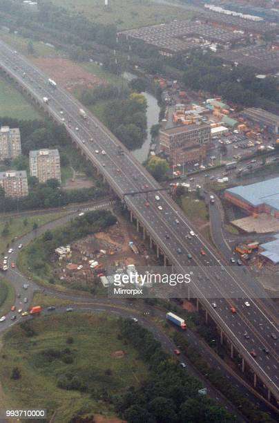 Aerial view of traffic in Birmingham from the BRMB Radio flying eye 18th June 1990