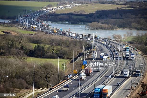 Aerial view of traffic jam on M25 motorway