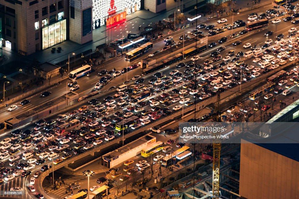 Aerial View of Traffic Jam : Stock Photo