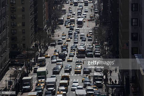 Aerial view of traffic on First Avenue in New York