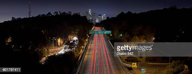 Aerial view of traffic on highway in Los Angeles cityscape, California, United States