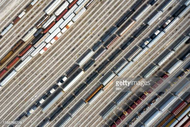 aerial view of train railway sidings in missouri, usa - rail freight stock pictures, royalty-free photos & images