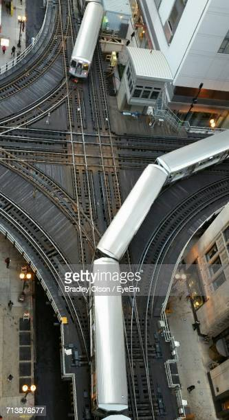 Aerial View Of Trains Moving In City