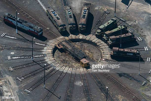 Aerial view of trains on turntable, Port Melbourne, Melbourne, Victoria, Australia