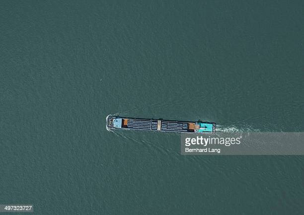 Aerial view of transport ship on river