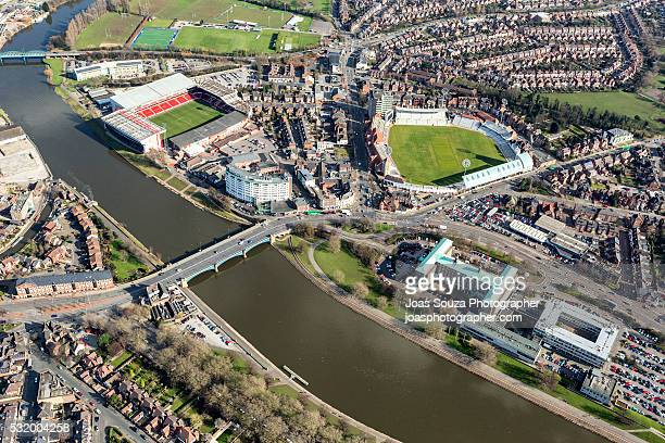 aerial view of trent bridge cricket ground and the city ground, nottingham city. - nottingham stock-fotos und bilder