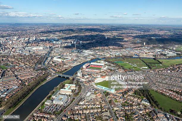 aerial view of trent bridge cricket ground and the city ground, nottingham city. - nottingham stock photos and pictures