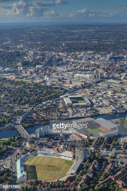 Aerial view of Trent Bridge cricket stadium, Nottingham Forest's City Ground: Notts County's Meadow Lane Ground and the city of Nottingham.