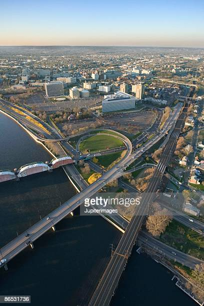 aerial view of trenton, new jersey - trenton new jersey stock photos and pictures