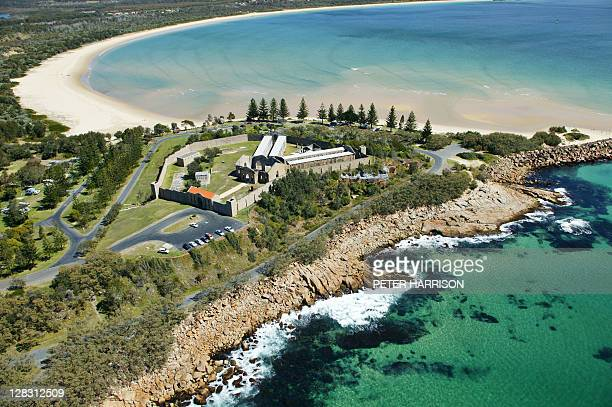 aerial view of trial bay gaol, south west rocks, nsw, australia - crime or recreational drug or prison or legal trial ストックフォトと画像