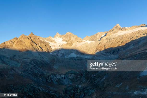 Aerial view of Trift Valley at sunrise. Zermatt, Mattertal, Canton of Valais, Switzerland, Europe