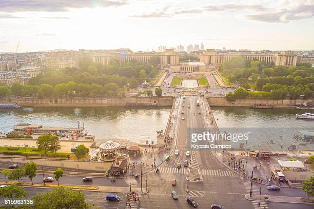 Aerial view of Trocadero and Seine River as seen from The Eiffel Tower. Paris, France
