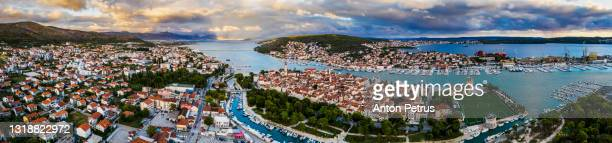 aerial view of trogir old town at sunset, croatia - croatia stock pictures, royalty-free photos & images