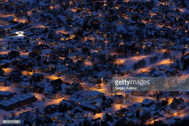 Aerial view of Tromso suburb at night in winter, Tromso, Troms County, Norway