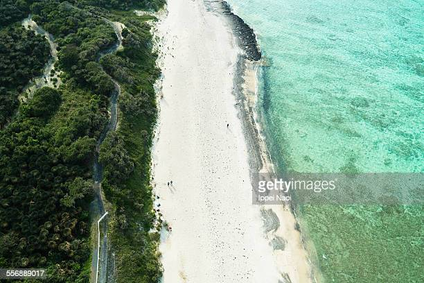 Aerial view of tropical beach, Amami Oshima, Japan