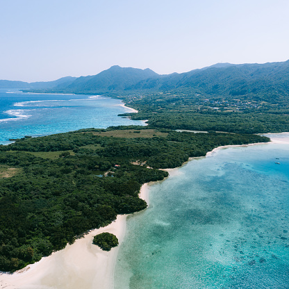 Aerial view of tropical beach and blue lagoon, Kabira Bay, Ishigaki Island, Japan - gettyimageskorea