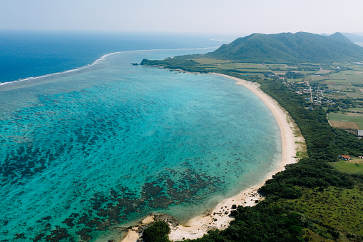 Aerial view of tropical beach and coral reef lagoon, Ishigaki Island, Japan - gettyimageskorea