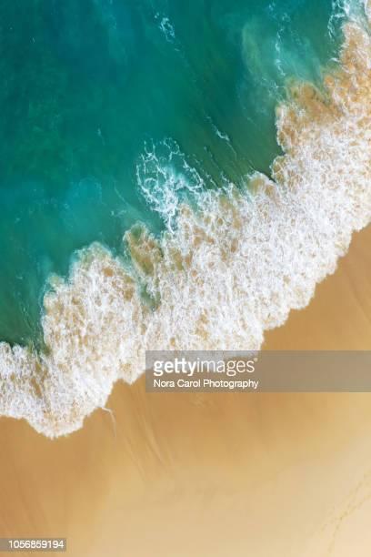 aerial view of tropical  beach and turquoise blue ocean - wasserrand stock-fotos und bilder