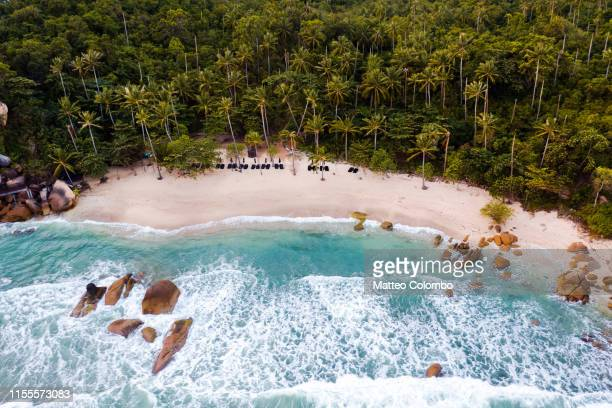 aerial view of tropical beach at sunset, ko samui, thailand - thailand stock pictures, royalty-free photos & images