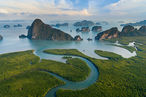 Aerial view of tropical island during sunrise amazing beautiful sea landscape in south of Thailand. - gettyimageskorea
