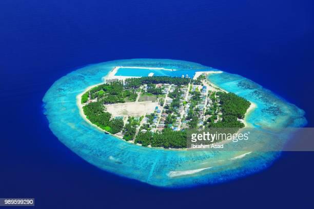 aerial view of tropical island, kaafu, maldives - 島 ストックフォトと画像