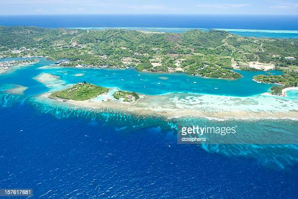aerial view of tropical island - honduras stock pictures, royalty-free photos & images