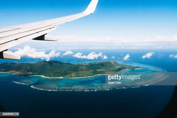 Aerial view of tropical island with coral reefs, Ishigaki, Japan