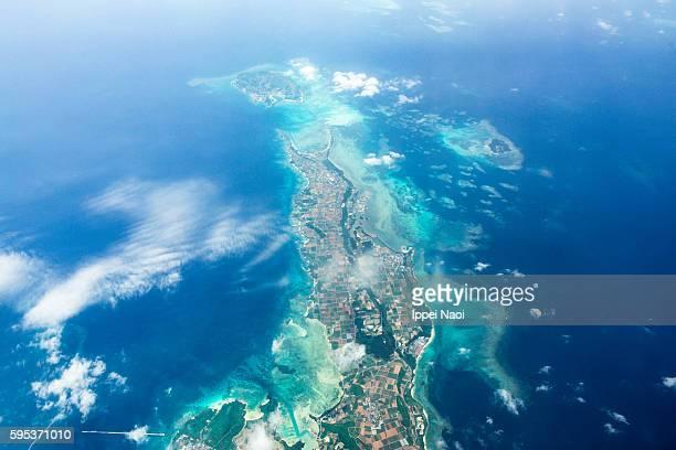 Aerial view of tropical island with coral reefs, Miyako-jima, Okinawa, Japan