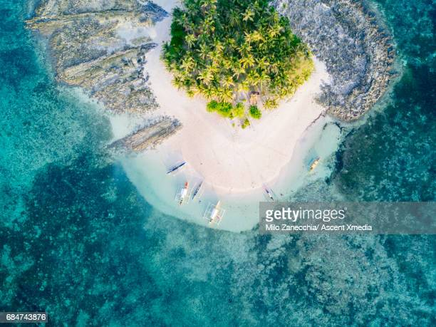 aerial view of tropical island with surrounding reef - paisajes de filipinas fotografías e imágenes de stock