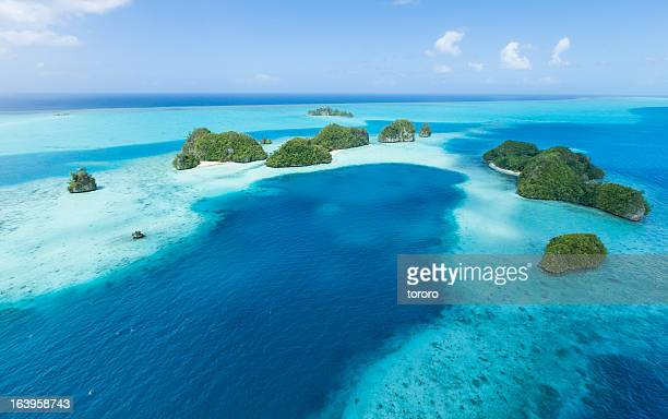 Aerial view of tropical islands and coral reef