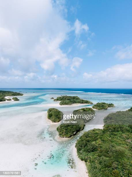 aerial view of tropical islands in lagoon, okinawa, japan - pacific ocean stock pictures, royalty-free photos & images