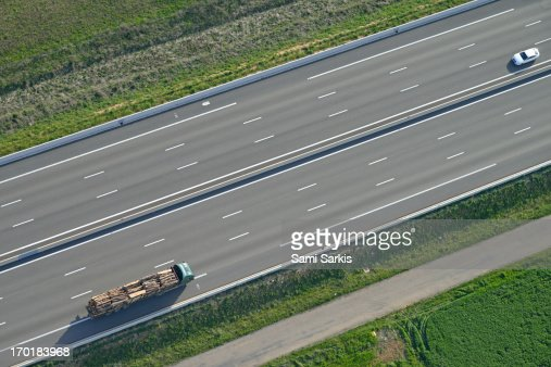 Aerial view of truck and car