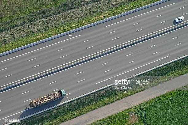 aerial view of truck and car - saint maximin la sainte baume stock pictures, royalty-free photos & images
