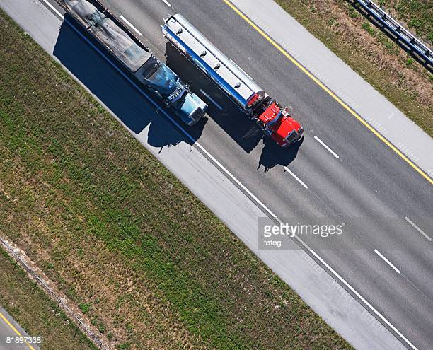 aerial view of trucks on highway