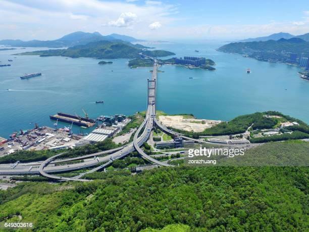 Aerial view of Tsing Ma Bridge, Hong Kong