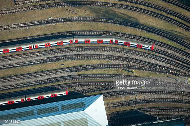 Aerial view of tube train and tracks