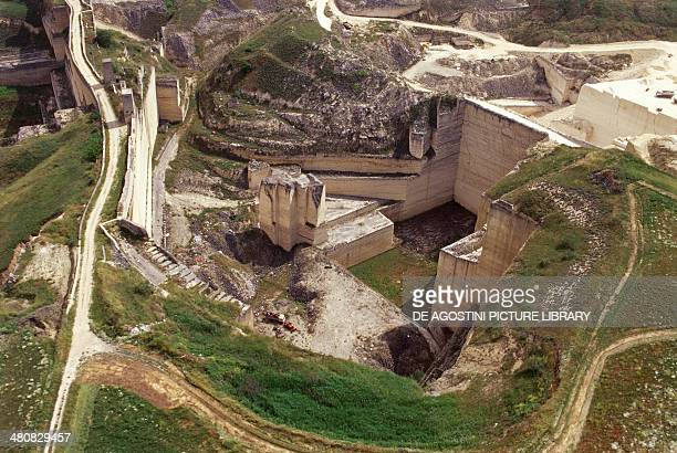 Aerial view of tuff quarries near Gravina in Puglia Province of Bari Apulia Region Italy