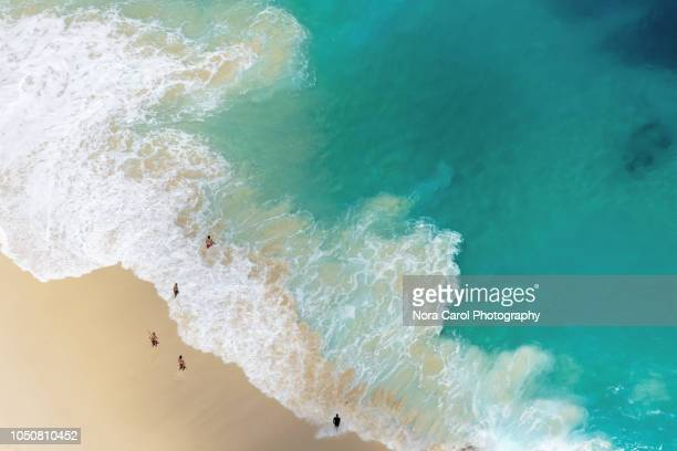 aerial view of turquoise water and beach at nusa penida island - caribbean sea stock pictures, royalty-free photos & images