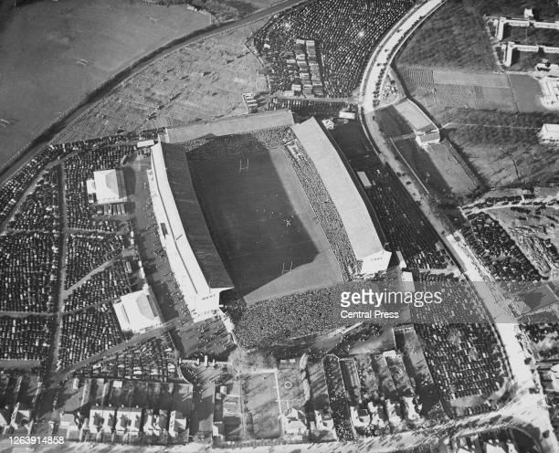 Aerial view of Twickenham Stadium, a rugby union stadium in southwest London, England, 1939. Designed by John Bradley, construction on the stadium...