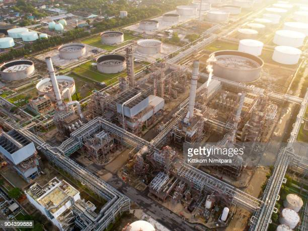 aerial view of twilight of oil refinery ,shot from drone of oil refinery and petrochemical plant at dusk , bangkok, thailand - toxic waste stock pictures, royalty-free photos & images