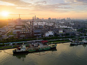 aerial view twilight oil refinery shot