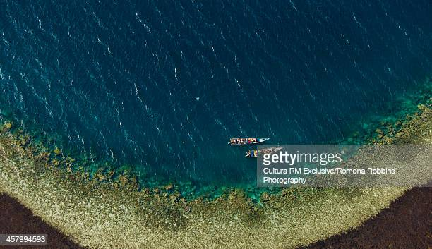 aerial view of two boats, gulf of aden, djibouti, africa - djibouti stock pictures, royalty-free photos & images