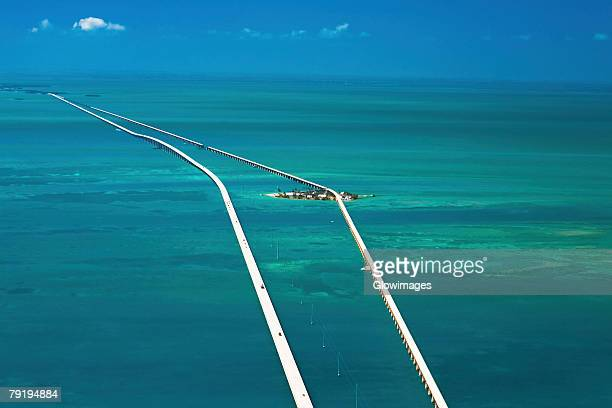 Aerial view of two bridges over the sea, Florida Keys, Florida, USA