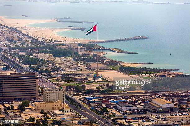 aerial view of uae flag in dubai - national landmark stock pictures, royalty-free photos & images
