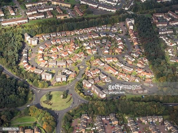 Aerial view of UK housing estate
