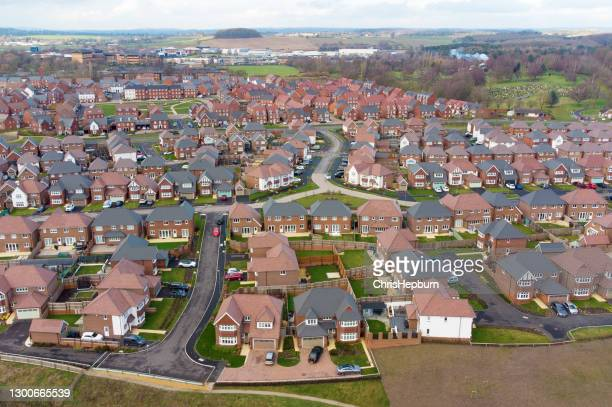 aerial view of uk  new build residential area with large detached houses - new stock pictures, royalty-free photos & images